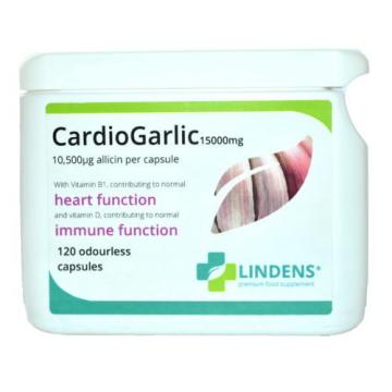 "Garlic 15000mg Odourless Capsules (""CardioGarlic"") 120 Pack Cardio Heart Support"