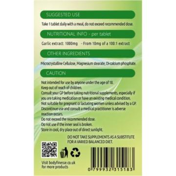 Garlic tablets 1000mg  365 tablets - 12 MONTH SUPPLY