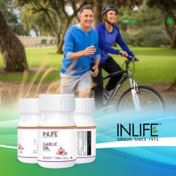 INLIFE Natural Garlic Oil Health Supplement, 60 Veg Capsules Free Shipping