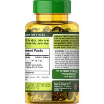 Puritan's Pride Garlic Oil 5000 mg-250 Rapid Release Softgels