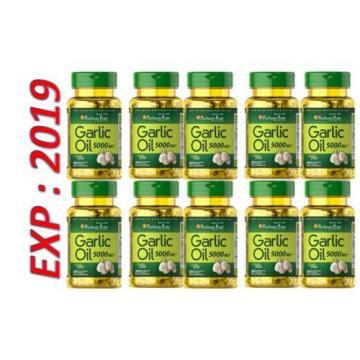 Garlic Oil 5000 MG 200 Caps Cholesterol Cardio Health Very Fresh Pills Exp 2019