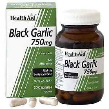 HEALTH AID BLACK GARLIC 750MG - 30 CAPSULES