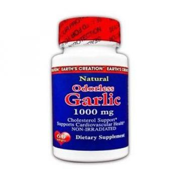 Earth's Creation Odorless Garlic Supplement - 1000mg - 60 Softgels(EXP:11/16)