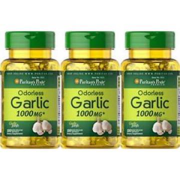 300 Sgel Puritan's Pride Odorless Garlic 1000mg Allicin Cholesterol Heart +Bonus