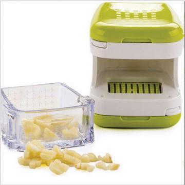Compact Green Garlic Clear Cube Mincer Slicer Press,Dishwasher Safe Kitchen Tool