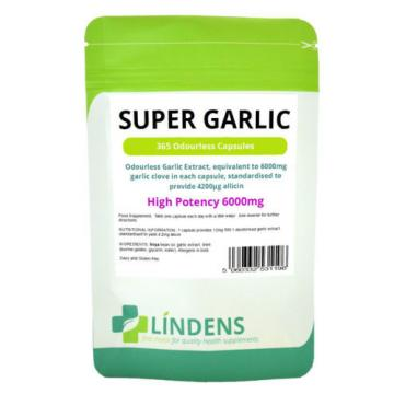 Super Odourless Garlic Capsules 365 x 6000mg High Strength Lindens Years Supply