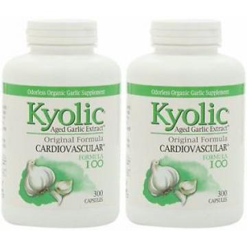 Lot of 2 (300 + 300 caps) Kyolic Aged Garlic Cardiovascular Original Formula 100