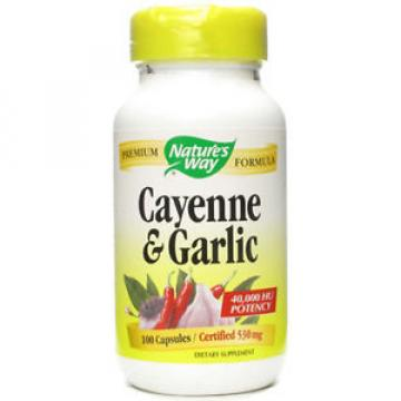 NATURES WAY - Cayenne and Garlic 530 mg - 100 Capsules
