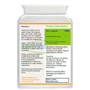 Odourless Garlic 2mg 120 Capsules GMP Sealed Heart & Circulation