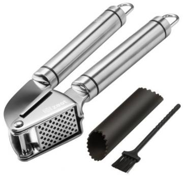 Zestkit Garlic Press and Peeler, Stainless Steel Mincer and Silicone Tube