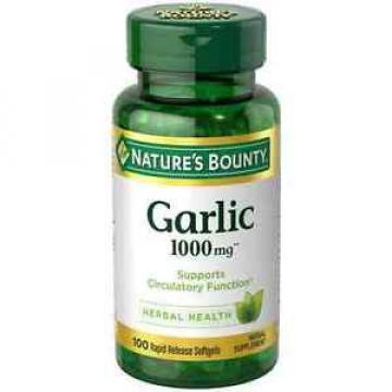 Nature's Bounty Garlic 1000 mg Softgels 100 ea (Pack of 9)