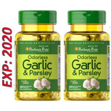 Odorless Garlic and Parsley - Vitamin D3 5000 mg 100 X 2=200 Pills Cholesterol