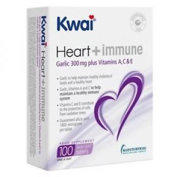 Kwai Heart & Immune Garlic 300mg Plus Vitamins  A, C & D Tablets (100)