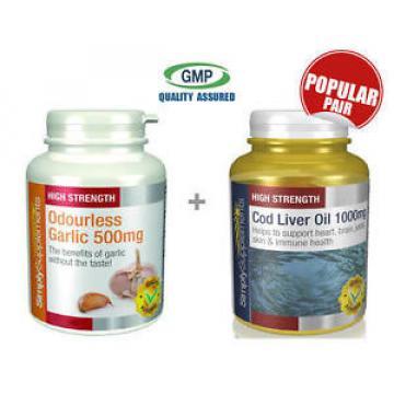 SimplySupplements Garlic 500mg 360Caps & Cod Liver Oil 1000mg 360Caps (S602143)