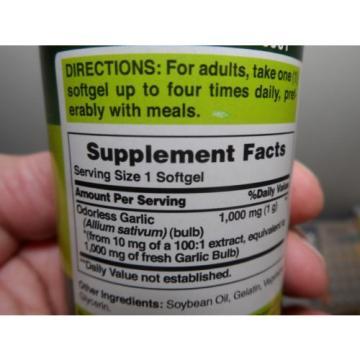 Odorless Garlic 1000 mg 300 Softgels Cholesterol Health Pills Very Fresh 2019