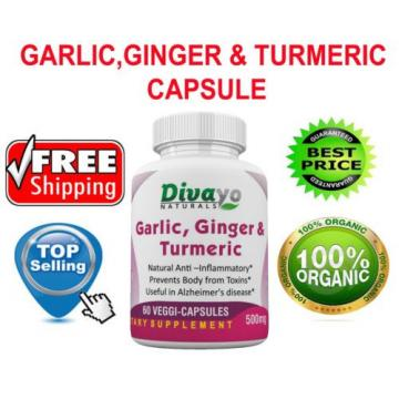 Divayo Naturals Garlic,Ginger & Turmeric Capsules 500 mg