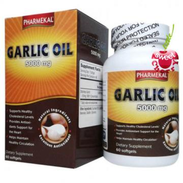 1 jar of 60 softgels Garlic Oil 5000mg - Pharmekal Made in USA - Cardio Health